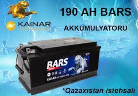190 AH BARS AKKUMULYATORU. QAZAXISTAN İSTEHSALI.