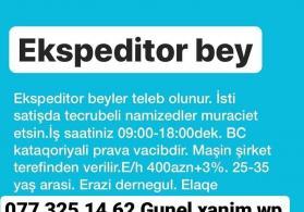 Ekspeditor beyler teleb olunur Is saati 09:00-18:00dek