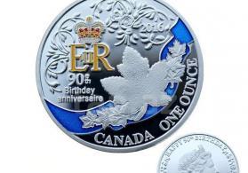 Королева Элизавета день рождения 90-й день рождения Посеребренная монета Канада .
